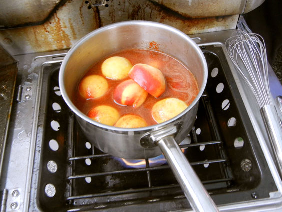 Peaches simmering on the stove at the Olathe COUNTRY Chef Challenge