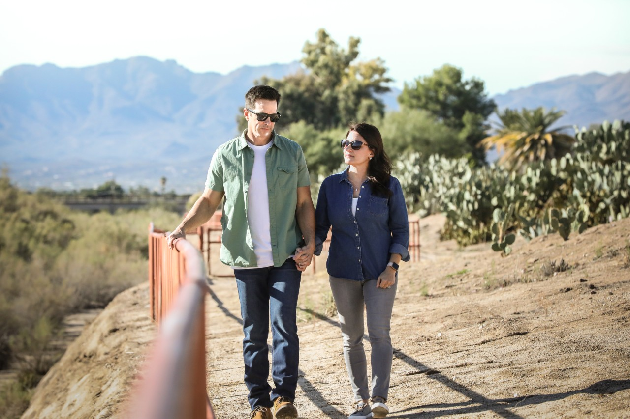 Couple hiking in desert setting